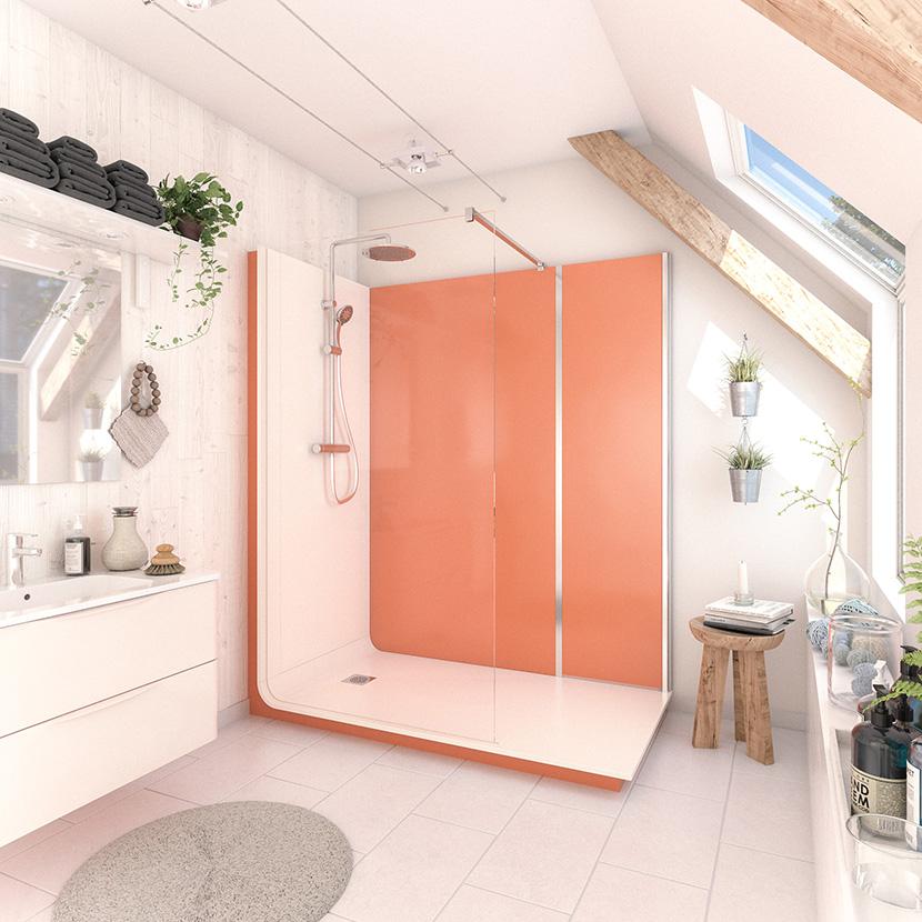 visuel 3D modèle Serenity ambiance papaye