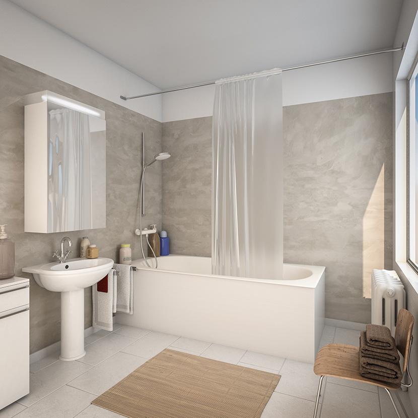 visuel 3D de salle de bain avant la cabine Elmer