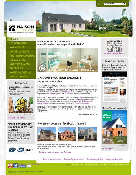 cr ation d 39 un site internet pour le constructeur maison en ligne. Black Bedroom Furniture Sets. Home Design Ideas